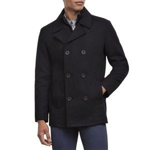 Kenneth Cole Wool Blend Double Breasted Pea Coat